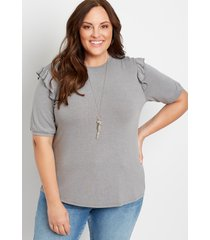 maurices plus size womens 24/7 gray ruffle tee