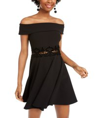 b darlin juniors' off-the-shoulder fit & flare dress