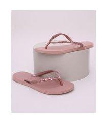 chinelo feminino havaianas slim glitter rosa
