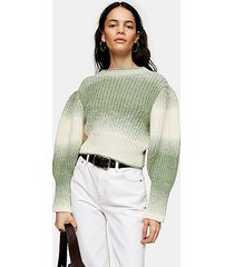 ombre balloon sleeve knitted sweater - multi
