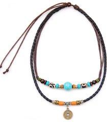 collana pendente d'epoca corda di cera irregolare beades rame collana di fascino di denaro gioielli etnici per gli uomini