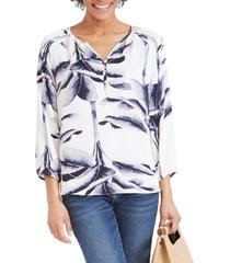 women's nic+zoe botanical leaf blouse, size x-large - white