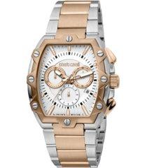 roberto cavalli by franck muller men's swiss quartz two-tone stainless steel bracelet watch 40mm