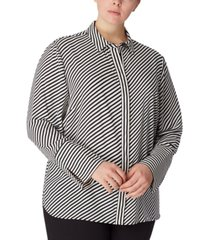 anne klein plus size striped slit-cuff blouse