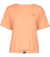 logo ribbed tee t-shirts & tops short-sleeved orange röhnisch