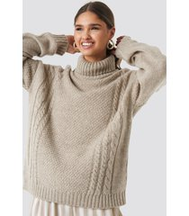 kae sutherland x na-kd cable knit turtleneck sweater - beige