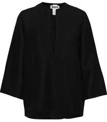 deep shirt blouse lange mouwen zwart hope