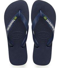 sandalias chanclas havaianas para hombre azul brasil logo