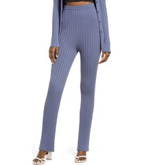 women's open edit ribbed high waist sweater pants, size x-small - blue