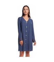 camisão feminino aberto de manga longa azul egeu com renda
