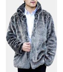 giacca da uomo con collo in pelliccia sintetica con collo in pelliccia sintetica