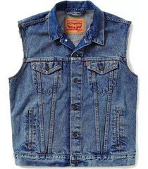 levi's men's standard fit trucker vest stonewash blue #0007