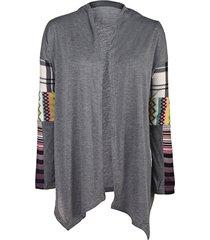 stylish long sleeve collarless loose-fitting spliced women's thin cardigan