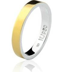 aliança mista ouro 18k e prata 925 styllo natalia joias alm-156