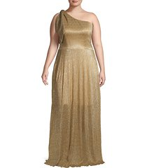 plus textured one-shoulder gown
