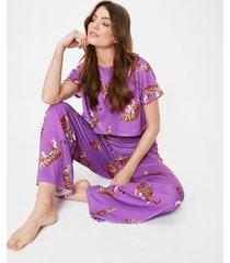 womens drive me wild tiger top and pants pajama set - purple
