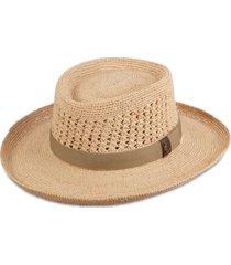 dorfman pacific men's crocheted raffia gambler hat
