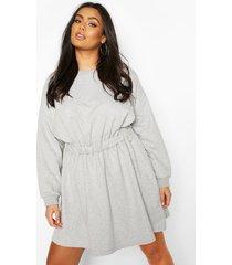 plus sweatshirt jurk met elastische taille, grijs gemêleerd