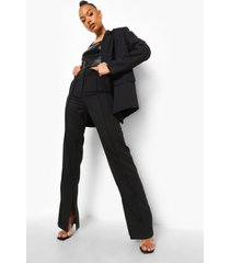 getailleerde broek met biezen en wijd uitlopende pijpen, black