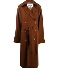 acne studios oversized belted trench coat - brown