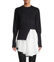 avantlook women's spliced crewneck sweater - black - size s