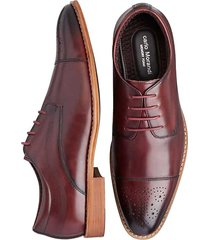 carlo morandi men's eastman burgundy red medallion cap toe derbys - size: 8 d-width