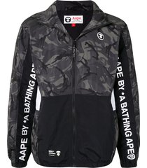 aape by *a bathing ape® funnel-neck camouflage jacket - grey