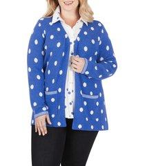 plus size women's foxcroft brighton dot jacquard cardigan, size 2x - blue