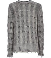 avant toi round neck braided pullover with destroyed