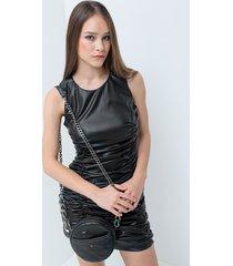 motivi vestito con arricci in similpelle donna nero
