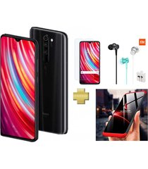 celular xiaomi redmi note 8 pro 128gb 6gb ram negro + vidrio + audífonos + estuche 360