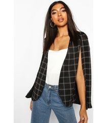 tall flannel cape blazer, black