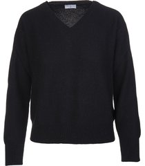 fedeli woman black cashmere pullover with v-neck
