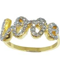 anel kumbayá love semijoia banho de ouro 18k ródio