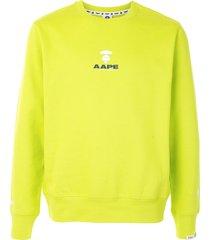 aape by *a bathing ape® logo print crewneck sweatshirt - green