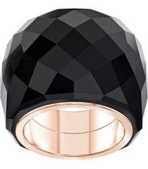 anillo swarovski nirvana, negro, pvd en tono oro rosa