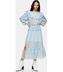 blue gingham spot tiered skirt - blue