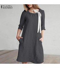 zanzea mujeres longitud de la rodilla vestido del tamaño corto mini vestido de tirantes de algodón de la pajarita plus -gris oscuro