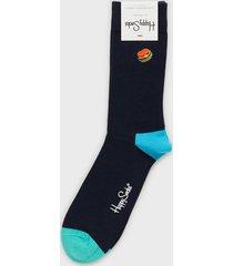 happy socks embroidery hamburger sock strumpor mönstrad