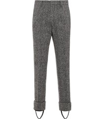 prada tweed stirrup trousers - grey