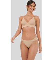 na-kd swimwear gathered bikini panty - beige