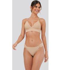 na-kd swimwear gathered bikini panty - beige