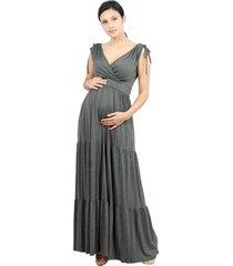 vestido longo tribo gestante amamentação bella cinza