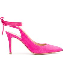 gianvito rossi ankle-tie pointed toe pumps - pink