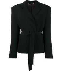 federica tosi belted shoulder-padded blazer - black