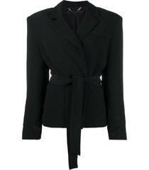 federica tosi belted shoulder-padded blazer - black