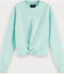 scotch & soda crew neck cotton-blend knotted sweatshirt