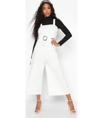 snake buckle pinafore jumpsuit, ivory