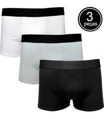 kit com 3 cuecas boxer cotton confort part.b colors branca, preta e cinza