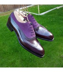 handmade men purple brown brogue shoes, oxford formal dress suede & leather sh